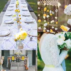 Inspiration for skyblue and yellow spring wedding<br />空色と黄色を使った春のウェディングインスピレーション