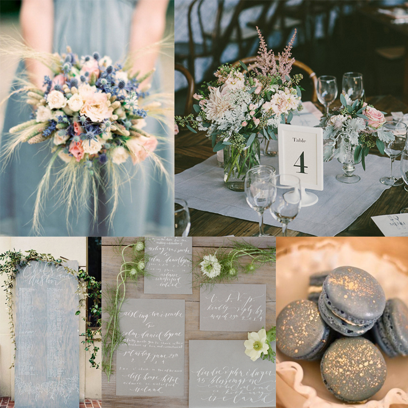 Inspiration for bluegray romantic wedding