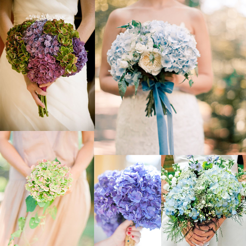 15パターン アジサイのウェディングブーケのアイデア<br / >15 hydrangea wedding bouquets ideas