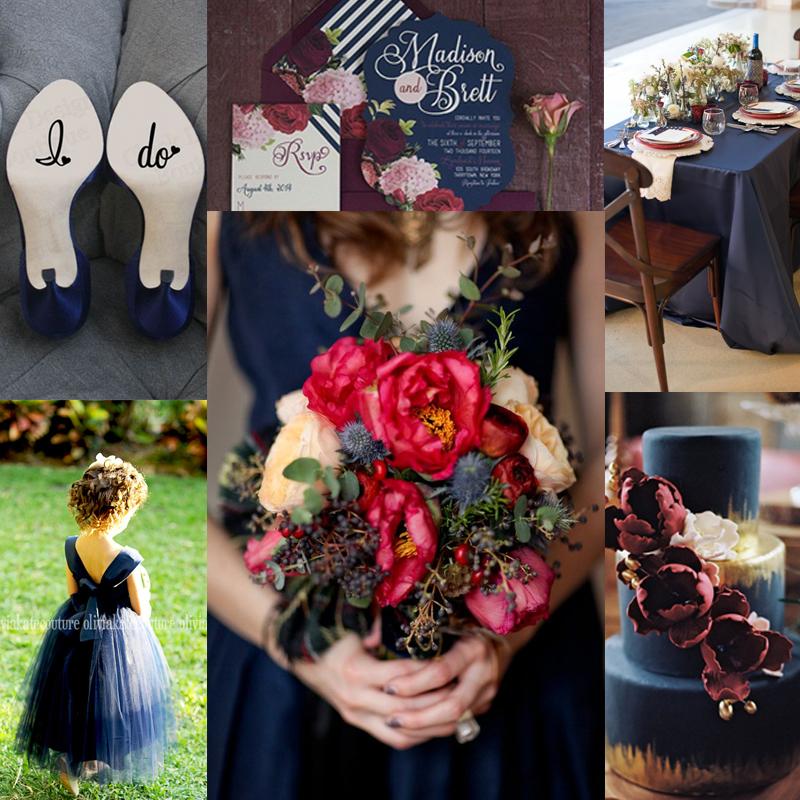 inspiration for rustic red and navy wedding<br />レッドとネイビーのラスティックウェディングアイデア