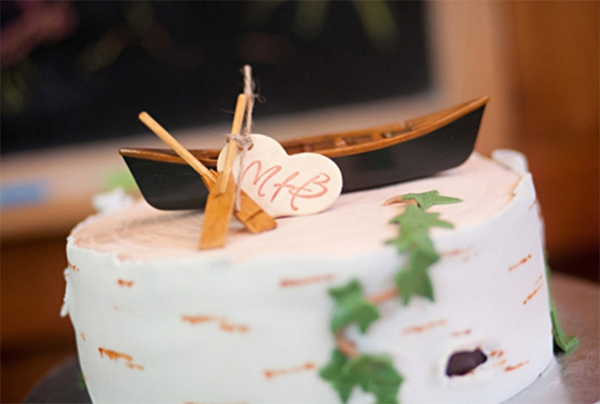 Romantic Canoe Wedding in Forest11