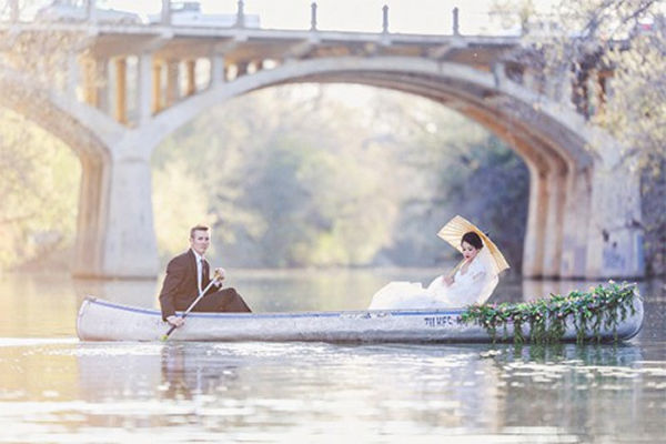 Romantic Canoe Wedding in Forest4