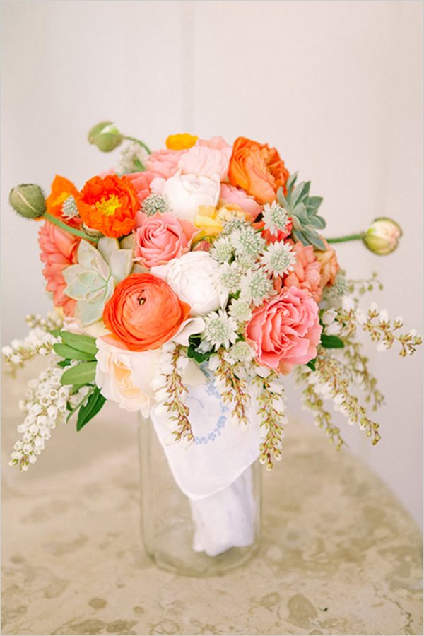 Coral,Orange & Gold wedding inspiration3