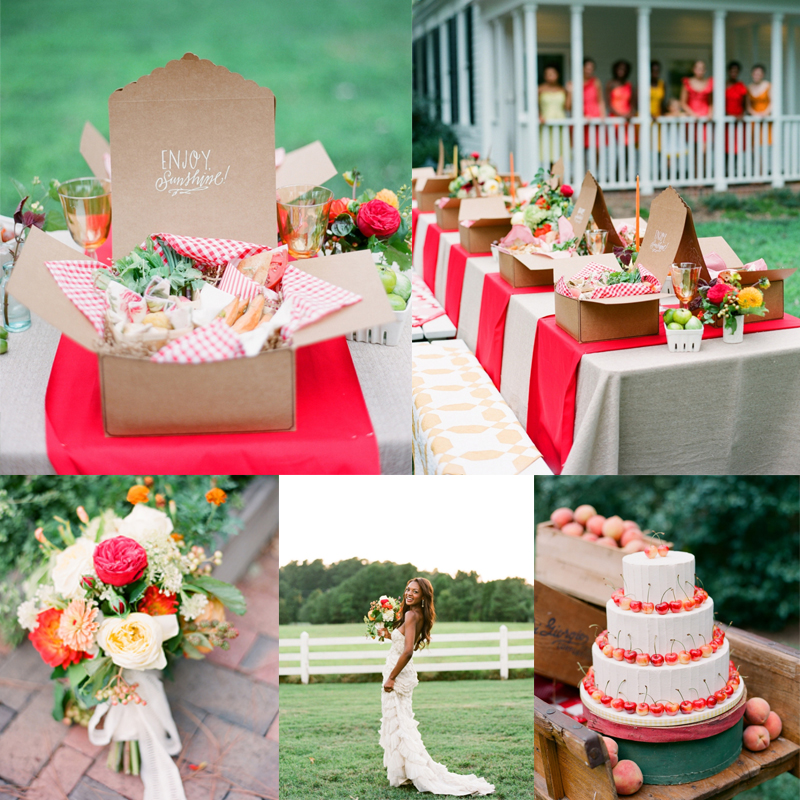 Inspiration for summer picnic wedding with red<br />赤を使ったピクニックウェディングのアイデア