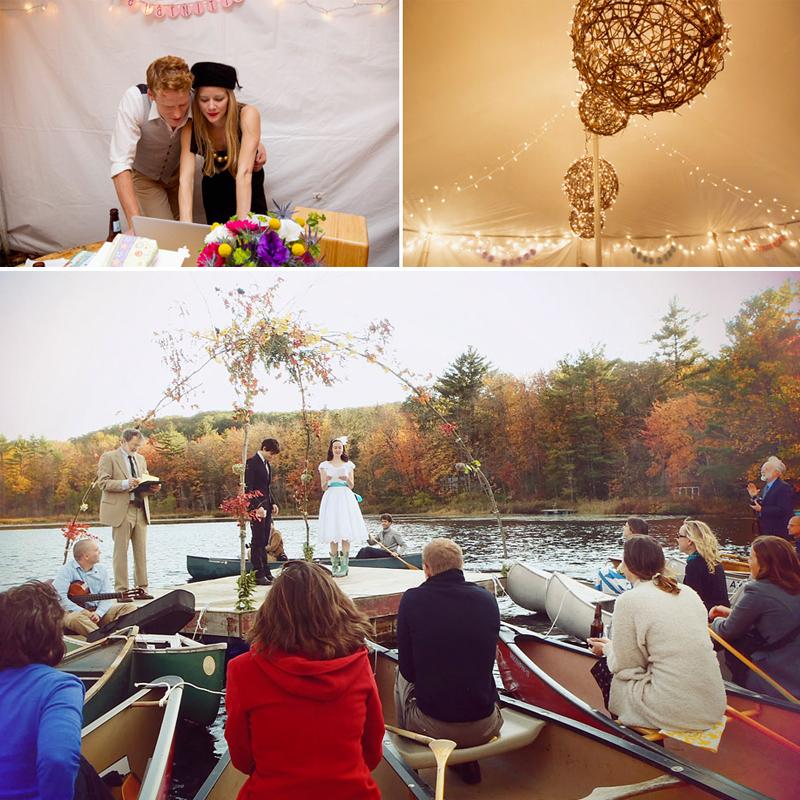 ユニークなカヌーとテントのウェディング<br />Their Rustic canoe and tent wedding