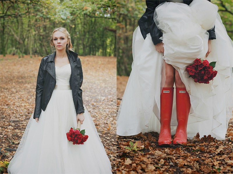 20 leather jacket with wedding dress ideas7