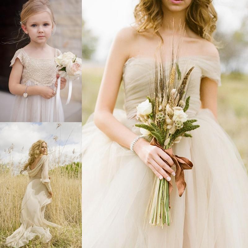 シャンパンカラーやベージュのウェディングドレス 13 <br />13 Romantic Champagne Wedding Dresses
