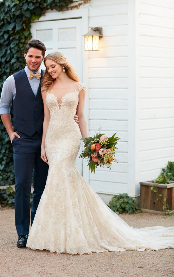 13 Romantic Champagne Wedding Dresses8