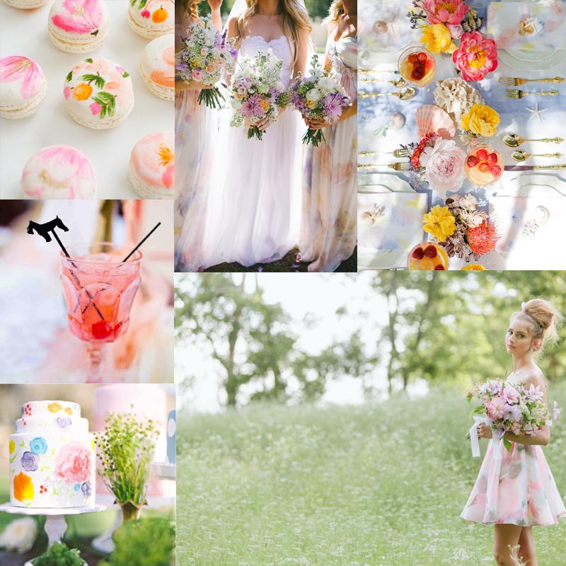 Inspiring Watercolor  Ideas for your Romantic Wedding<br /> ウォータカラーのテーマで彩るウェディングのケーキとデコレーション