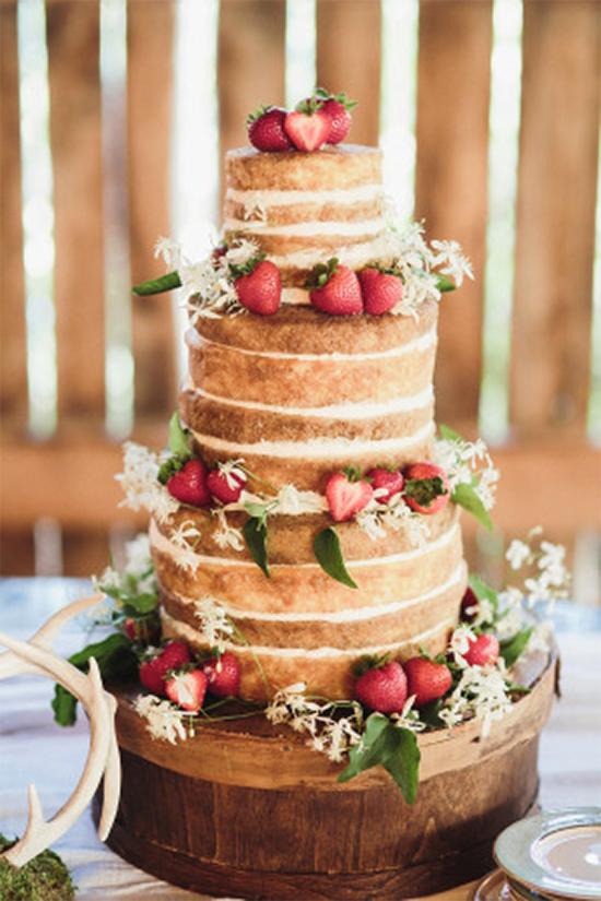 Fall Beautiful Naked Wedding cake ideas10