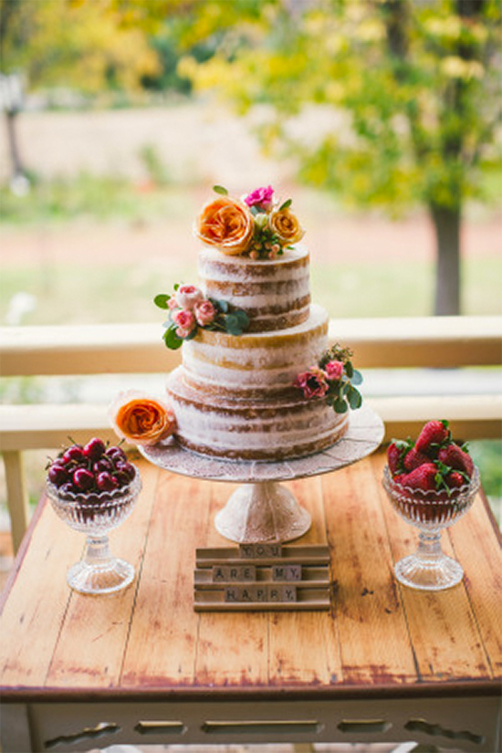 Fall Beautiful Naked Wedding cake ideas 5