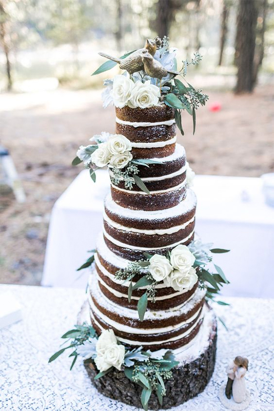 Fall Beautiful Naked Wedding cake ideas6