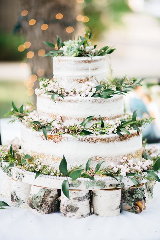 Fall Beautiful Naked Wedding cake ideas8