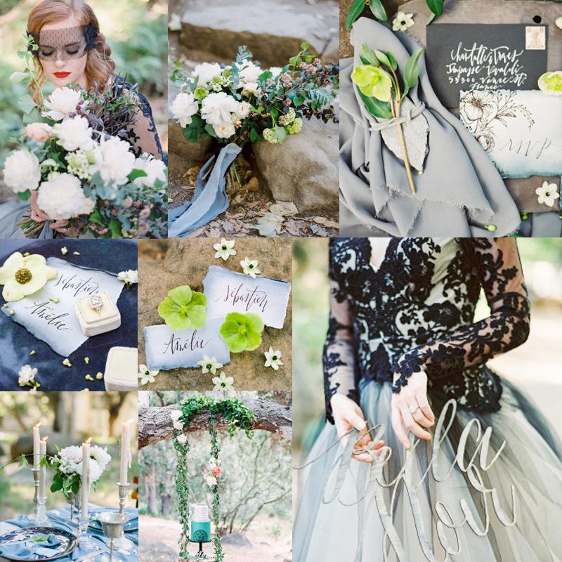 ブラックのウェディングドレスのスタイルインスピレーション<br />Spring Blacklace Wedding Inspiration
