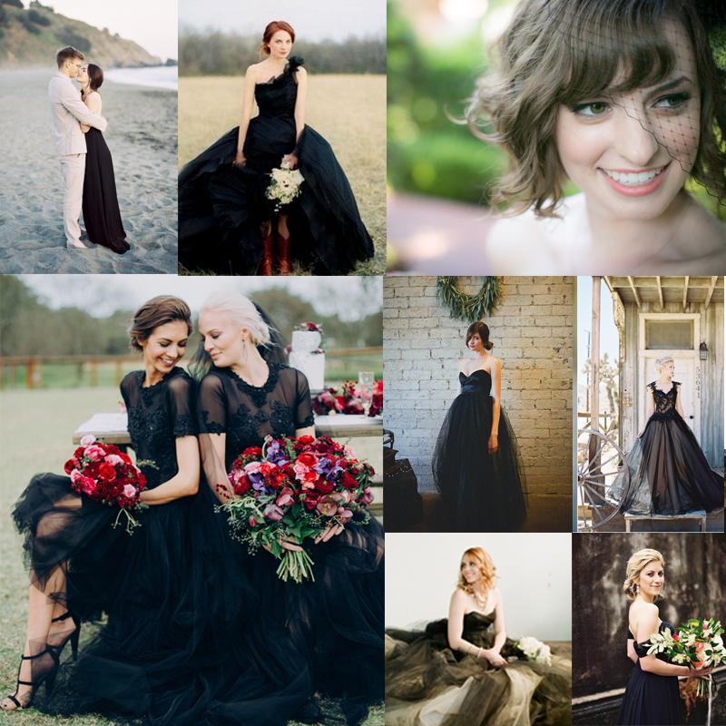 30+ エレガントなブラックのウェディングドレスのアイデア<br />30+ Beautiful Black Wedding Dresses