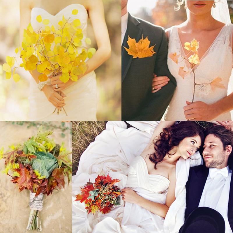 秋のナチュラルなリーフを使ったウェディングブーケのアイデア <br />20+ Fall Natural Fall Leaves Wedding Bouquet Ideas