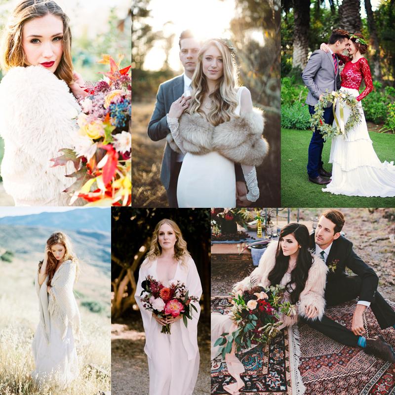 かわいいケープにゴージャスなファー 秋から冬に向けて 温かく彩るブライダルコーディネート<br />27 Ways To Stay Warm and Stylish For Fall and Winter Bride Styles