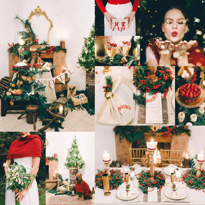 赤と緑と木の 素敵なクリスマスウェディングのインスピレーションシュート