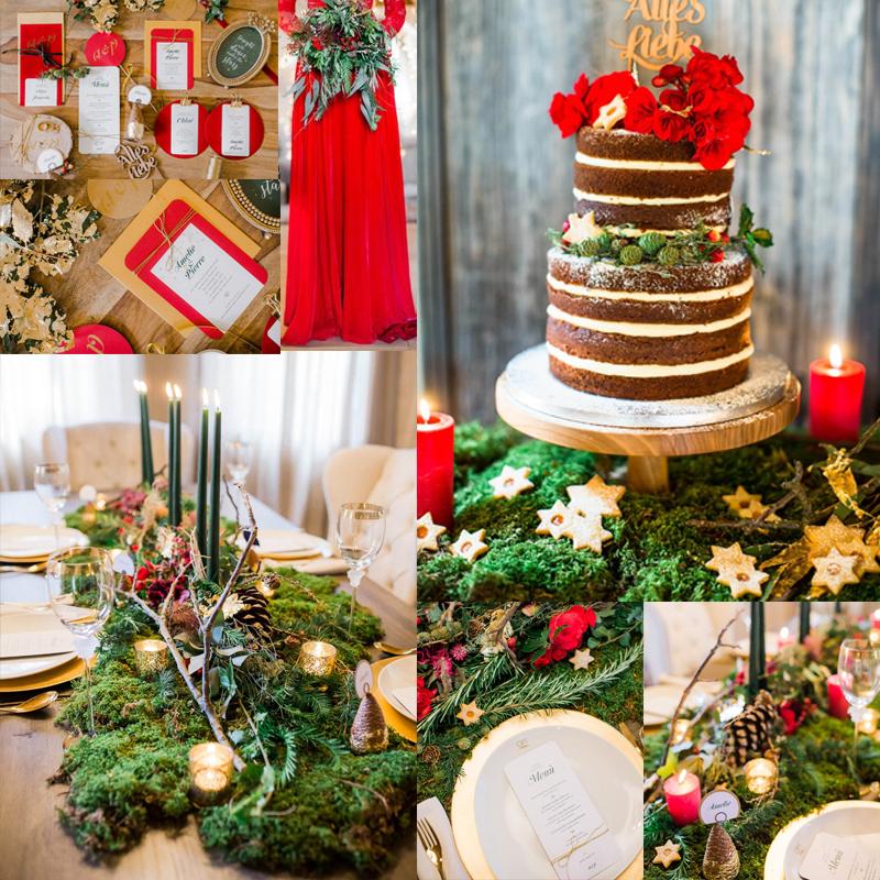 レッド×グリーン×ホワイト クリスマスウェディングを盛り上げるテーブルデコレーションのアイデア3<br /> 3  Beautiful Christmas Wedding Table Décor Ideas