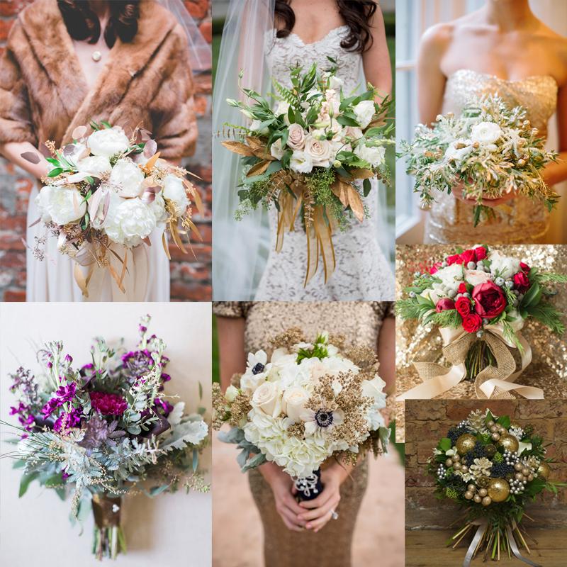 冬におすすめのゴージャスなゴールドを使ったウェディングブーケのアイデア20<br />20 Gorgeous Gold Winter Wedding Bouquets ideas