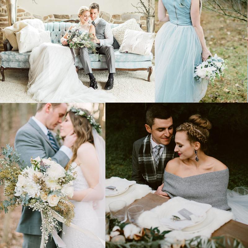 4つのスタイリッシュなブルーを使ったお洒落なウィンターウェディング<<br />4 Fashionably Blue Winter Wedding Ideas