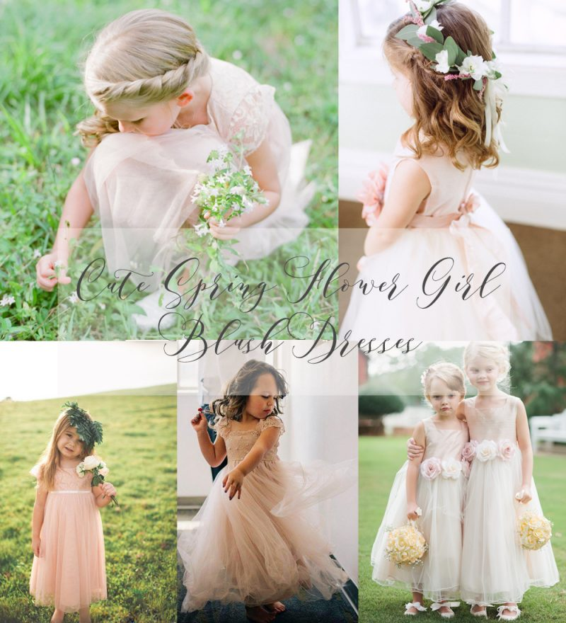 Cute Spring Flower Girl  Blush Dresses