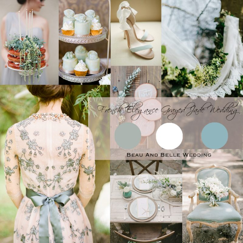 2017 Summer Wedding Inspiration Board<br />French Elegance Grayed Jade Wedding(ダスティーミントの夏のウェディング)