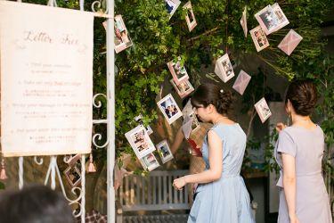 新郎新婦からゲストへ、想いを込めた手紙が飾られたシンボルツリー